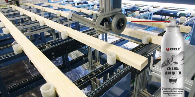 Смазка для цепей EFELE на деревообрабатывающих производствах